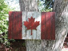 3D Distressed Canadian Flag, Canada flag, maple leaf, rustic, distressed, weathered, reclaimed wood, home decor, wall art