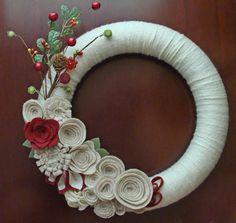 Christmas Wreath. Holiday Wreath. Flower & Berry Wreath.  Ivory, Tan, and Burgundy Wreath. 12in.  Yarn and Felt Wreath.. $39.00, via Etsy.