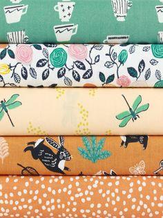 Fabricworm Custom Bundle, ORGANIC, Tea Garden in FAT QUARTERS 5 Total
