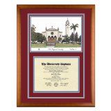 Loyola Marymount University Diploma Frame with LMU Lithograph Art PrintBy Old School Diploma Frame Co.