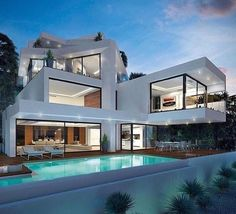 Modern architecture house design with minimalist style and luxury exterior and interior and using the perfect lighting style is inspiration for villas mansions penthouses Dream Home Design, Modern House Design, Luxury Homes Dream Houses, Dream Homes, Modern Mansion, Modern Houses, Fancy Houses, Weird Houses, Nice Houses