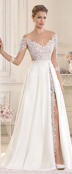 Stunning Tulle & Satin Bateau Neckline See-through A-Line Wedding Dresses With Lace Appliques #weddingdress