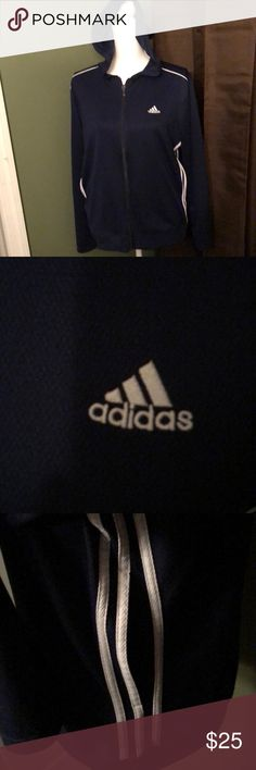 Adidas full zip hoodie! Women's size large! In excellent new condition women's size large Adidas full zip hoodie. Two side pockets and navy blue and white colors! adidas Tops Sweatshirts & Hoodies