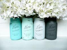 Ombre, Beach SPRING and SUMMER Aqua and Grey Wedding Centerpieces / Painted Mason Jars / Home Decor / Decoration / Vase. $28.00, via Etsy.