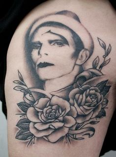 David Bowie & Roses Tattoo by Mr Curtis at tribalbodyart.co.uk