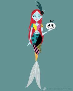 Sally [as a mermaid] (Drawing by AshleyDesignPierce Disney Fan Art, Disney Love, Disney Magic, Walt Disney, Fantasy Mermaids, Mermaids And Mermen, Mermaid Disney, Mermaid Art, Mermaid History