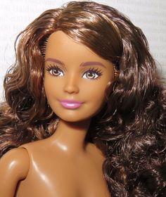 * NUDE BARBIE ~ PETITE BRUNETTE BROWN EYES FASHIONISTA EVOLUTION DOLL FOR OOAK #Mattel