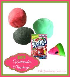 DIY watermelon Kool aid.  Smells divine and the kids will love it!  http://thegardeningcook.com/watermelon-play-dough/