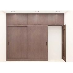 Cute Simple and solid structure wardrobe with laminate finish made up of plywood sliding door