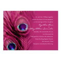 Fushia Peacock Announcements.  The peacock bird feather invitations are amazing.  The bright pink color creates a beautiful invite.