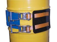 Dual Ratchet Strap for Plasic & Fiber Drums accommodates 30 and 55-gallon drums. The Dual Ratchet Strap can be utilized in conjunction with the Portable Hydraulic Drum Carrier/Rotator/Boom, Fork Truck Drum Carrier/Rotator, Manual Drum Carrier Rotator and Hoist Mounted Drum Carrier/Rotator.