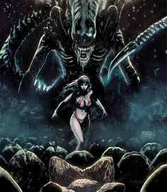 "#Dynamite & #DarkHorseComics brings the worlds of #Vampirella and #Aliens for a brutal battle in ""Aliens/Vampirella."""