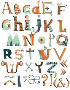 Cinc alfabets pictòrics / Cinco alfabetos pictóricos / Five pictorial alphabets Doodle Lettering, Creative Lettering, Lettering Design, Alphabet Design, Alphabet Art, Art Mots, Typography Tutorial, Sign Fonts, Graphic Design