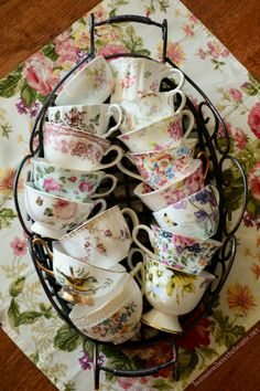 Collection of tea cups for a tea party! | homeiswheretheboatis.net