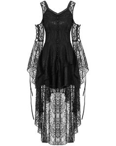 Dark In Love Serenity Lace Dress - Black Gothic Steampunk Dress With Adjustable Corset Lacing Black Witch Dress, Lace Dress Black, Black Gothic Dress, Witchy Dress, Black High Low Dress, Girls Black Dress, Elegant Dresses, Pretty Dresses, Gothic Mode