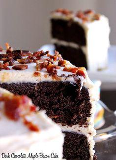 Dark Chocolate Maple Bacon Cake Recipe  http://www.mommatoldmeblog.com/~~OH MYYYYY, Yes PLEASE!!