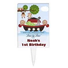 Shop Noah's Ark Sets Sail Cupcake Topper created by noahsarkboutique. Cake Picks, Set Sail, Baby Shower Cakes, Ark, Cupcake Toppers, Printing Process, Safe Food, Sailing, Birthday