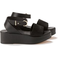 Cecile Wedge Sandal (415 CNY) ❤ liked on Polyvore featuring shoes, sandals, black, platforms, flats, ankle strap sandals, flatform sandals, black leather flats, black ankle strap flats and leather sandals