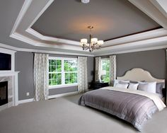 dark grey dining room | tray ceiling with dark grey ceiling in