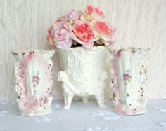 Shabby Chic Pair of Lustre Floral Vases