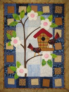 Pano March ~ My favorite of the Kim Schaefer Calendar Quilts Colchas Quilt, Bird Quilt, Applique Quilts, Quilt Blocks, Small Quilts, Mini Quilts, Baby Quilts, Patchwork Patterns, Quilt Patterns