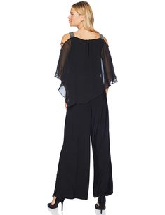 d6236051cad5 MSK Womens Silver Bar Sleeve Wide Leg Jumpsuit with Chiffon Overlay Black  Gunmetal Large --