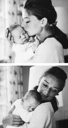 Audrey Hepburn with her son, 1960