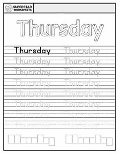 Free Days of the Week Worksheets for kids to work on handwriting, and spelling. Students trace, write and spell each day of the week. Handwriting Worksheets For Kids, Spelling Worksheets, Reading Worksheets, Handwriting Practice, Calendar Worksheets, Alphabet Writing Practice, All About Me Preschool, Learning To Write, Teaching Resources