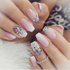 Classy Nail Designs, Pretty Nail Art, Beautiful Nail Designs, Cute Nail Art Designs, Beautiful Nail Art, Elegant Nails, Stylish Nails, Elegant Bridal Nails, Bridal Nail Art