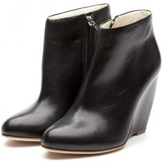 Rupert Sanderson Black Nappa Ankle Boot Wedges ❤ liked on Polyvore