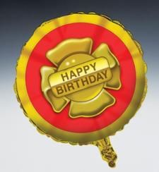 Firefighter Party 18 inch Happy Birthday Mylar Balloon.