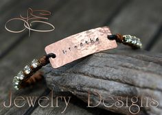 *BREATHE* -  Hand Stamped Copper Leather and by LEJewelryDesigns