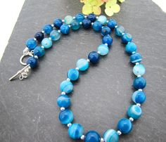Blue Striped Agate gemstone necklace, teal blue beads