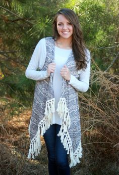 This long Don't Stop Believing Vest goes great over any top or dress! It is beautiful with the fringe detailing all around the bottom!     Alex is 5'6 and is wearing a size SMALL/MEDIUM.