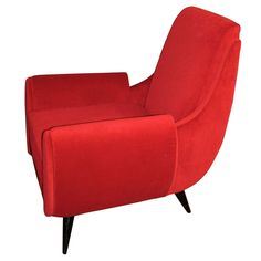 1950's armchair  :  Mid-Century Modern     Red Velour