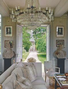 Chandelier and architectural pieces also good for a bedroom. dream home in normandy - charles spada