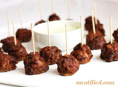 Chorizo-Spiced Lamb and Date Mini Meatballs with Cilantro Dipping Sauce - http://meatified.com