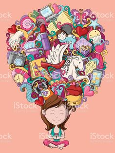 Dream and thought of teenage girl royalty-free stock vector art Dream Illustration, Free Vector Art, Image Now, Royalty Free Stock Photos, Thoughts, Inspiration, Illustrations, Biblical Inspiration, Illustration