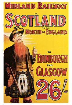 1904 Midland Railway to Scotland and the North of England Travel Advertisement Art Picture Poster - Vintage Travel Poster Prints - Vintage Advertisement Art Poster Prints Retro Poster, Poster S, Poster Prints, Poster Vintage, Train Posters, Railway Posters, Travel Ads, Bus Travel, Train Travel