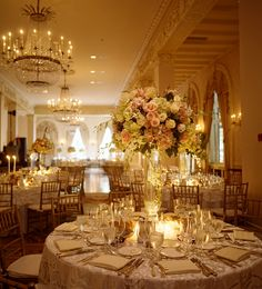 A centerpeice of all soft Pinks and Ivorys at Westchester Country Club in Rye, New York