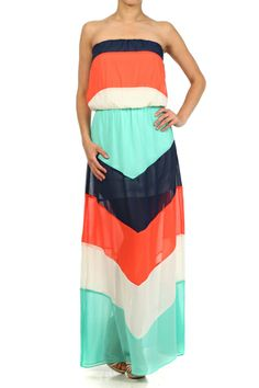 Chevron printed, strapless maxi dress with bubble top, semi sheer shell, and inner lining.