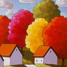 PAINTING ORIGINAL Folk Art White Cottage Road by SoloWorkStudio, $225.00