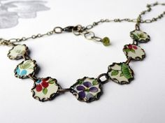 recycled tin and brass necklace