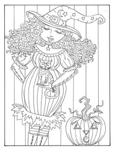 5 pages of Magical Witches to color halloween by ChubbyMermaid Big Eyes Artist, Gothic Culture, Line Art Images, Creation Art, Black And White Lines, Digi Stamps, To Color, Fancy Pants, Coloring Book Pages