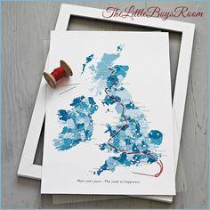 Personalisierte und bestickte Landkarte von TheLittleBoysRoom via notonthehighstreet