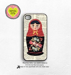 Matryoshka Russian doll on vintage dictionary background iPhone case 4/4S - iPhone case 5/5S -Galaxy S4 case -Design by Natura Picta-NP047