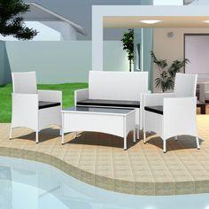 Salon de jardin blanc en résine tressée 2 chaises table canapé 3 coussins