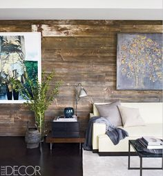 Because it's Hilary Swank's living room. Gives me a little credibility when I tell my dh that I want to put old barn wood on the wall.