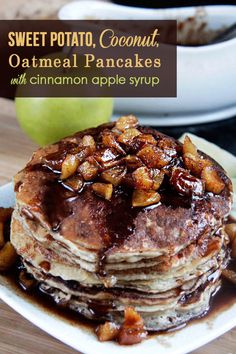 Sweet Potato Coconut Oatmeal Pancakes (with Cinnamon Apple Syrup) | Carlsbad Cravings