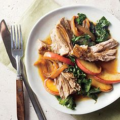 Smothered Vinegar Pork Shoulder with Apples and Kale Recipe | Cooking Light #myplate #protein #veggies #fruit